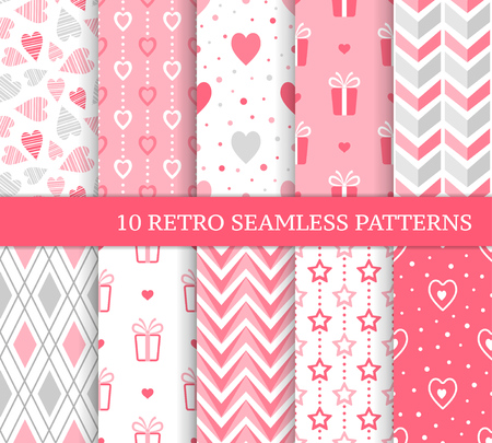 Ten different seamless patterns. Romantic pink backgrounds for Valentine's or wedding day. Endless texture for wallpaper, web page, wrapping paper and etc. Retro love style. Zigzag, gift and hearts.