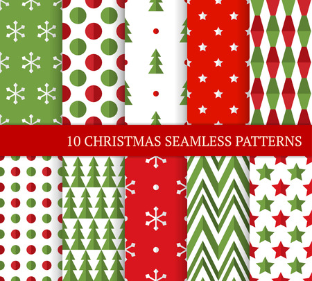 Ten Christmas different seamless patterns. Xmas endless texture for wallpaper, web page background, wrapping paper and etc. Flat style. Stars, zigzags, circles, Christmas trees and snowflakes Ilustração
