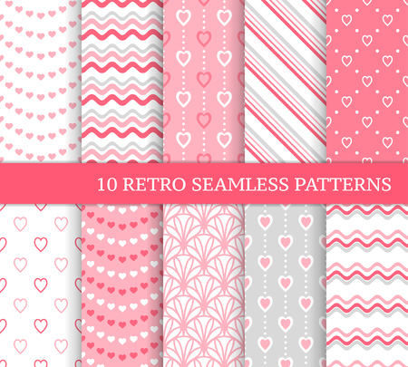 Ten different seamless patterns. Romantic pink backgrounds for Valentine's or wedding day. Endless texture for wallpaper, web page, wrapping paper and etc. Retro love style. Waves, flowers and hearts Vektorové ilustrace