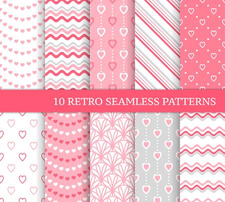 Zehn verschiedene nahtlose Muster. Romantische rosa Hintergründe für Valentinstag oder Hochzeitstag. Endlose Textur für Tapeten, Webseiten, Geschenkpapier usw. Retro-Liebesstil. Wellen, Blumen und Herzen Vektorgrafik