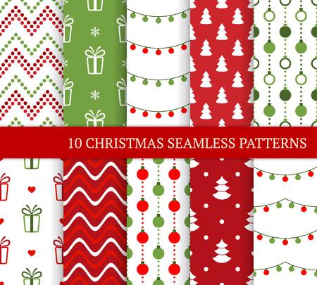 Diez patrones sin fisuras diferentes de Navidad. Textura festiva sin fin de Navidad para papel tapiz, fondo de página web, papel de regalo, etc. Estilo retro. Zigzags, regalos, nieve, luces navideñas, bolas y árboles