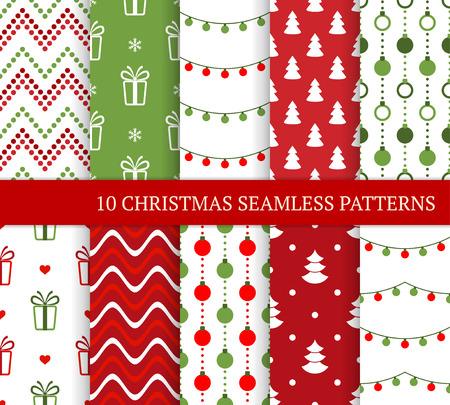 Ten Christmas different seamless patterns. Xmas endless festive texture for wallpaper, web page background, wrapping paper and etc. Retro style. Zigzags, gifts, snow, Christmas lights, balls and trees Ilustração