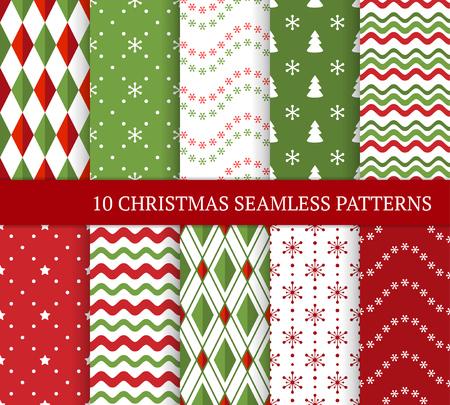 Dziesięć różnych wzorów bezszwowe Boże Narodzenie. Xmas niekończące się tekstury na tapetę, tło strony internetowej, papier pakowy itp. Styl retro. Fale, płatki śniegu, argyle, choinki i gwiazdy