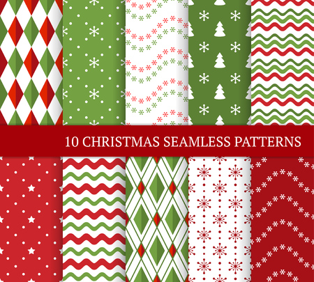 Ten Christmas different seamless patterns. Xmas endless texture for wallpaper, web page background, wrapping paper and etc. Retro style. Waves, snowflakes, argyles, Christmas trees and stars Standard-Bild - 126785414