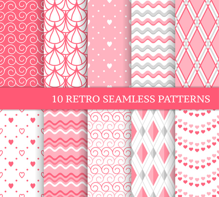Ten different seamless patterns. Romantic pink backgrounds for Valentine's or wedding day. Endless texture for wallpaper, web page, wrapping paper and etc. Retro love style. Wave, argyle, curl, heart Standard-Bild - 113890225