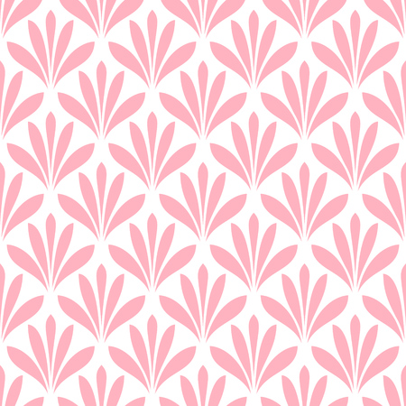 Pink stylized flower blossom on white background. Pretty seamless geometric floral pattern. Retro style. Endless texture for wallpaper, web page, wrapping paper and etc.  Illustration
