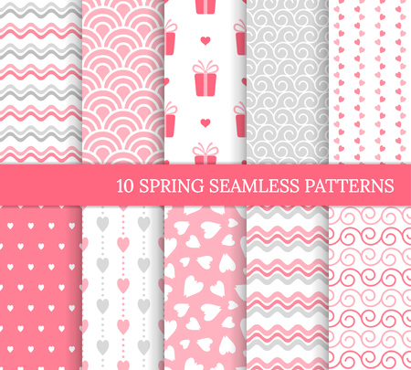 Ten different seamless patterns. Romantic pink backgrounds for Valentine's or wedding day. Endless texture for wallpaper, web page, wrapping paper and etc. Retro love style. Wave, gift, curl, heart Standard-Bild - 126168352