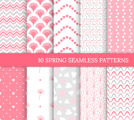 Ten different spring seamless patterns. Romantic pink backgrounds for Valentine's or wedding day. Endless texture for wallpaper, web page, wrapping paper. Retro love style. Wave, flower, curl, heart