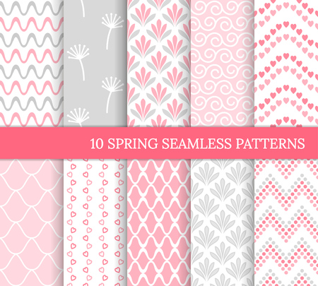 Ten spring seamless patterns. Romantic pink backgrounds for Valentine's or Mother's day. Endless texture for wallpaper, web page, wrapping paper. Retro love style. Wave, flower, curl, heart, tile 免版税图像 - 126046591