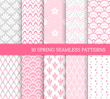Ten spring seamless patterns. Romantic pink backgrounds for wedding or Mother's day. Endless delicate texture for wallpaper, web page, wrapping paper. Retro style. Wave, flower, curl, heart, tile 免版税图像 - 126046592