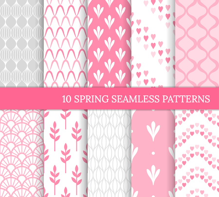 Ten spring seamless patterns. Romantic pink backgrounds for wedding or Mother's day. Endless delicate texture for wallpaper, web page, wrapping paper. Retro style. Wave, flower, heart, tile, curve 免版税图像 - 126046593