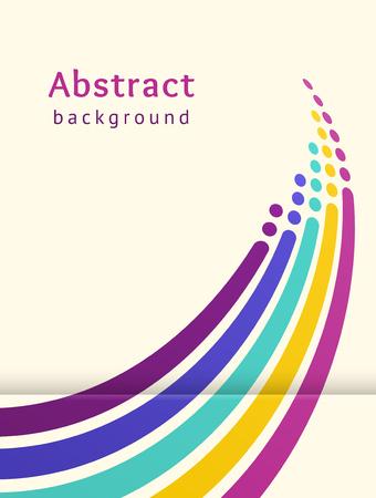 Farbige Streifen mit Kreisen auf hellem Hintergrund. Retro-Vektor-Hintergrund. Designvorlage. Abstrakte Linien nach oben gerichtet. Trendiges Farbschema Vektorgrafik