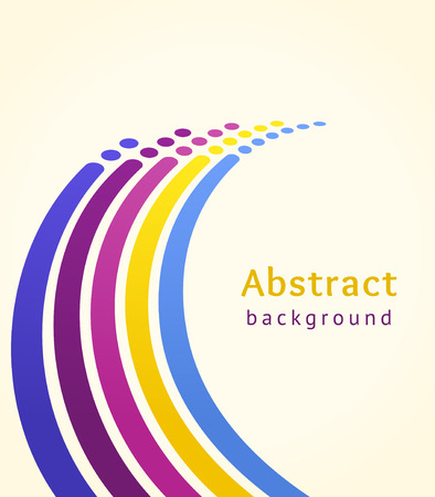 Colored stripes with circles over light background. Retro vector backdrop. Design template. Abstract curved lines directed upwards. Trendy color scheme  イラスト・ベクター素材