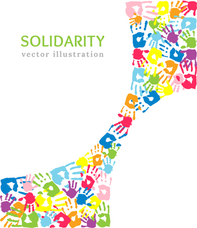 Vector background made of the color handprints. Symbol of assistance and solidarity. Community help concept, diverse culture group or social project