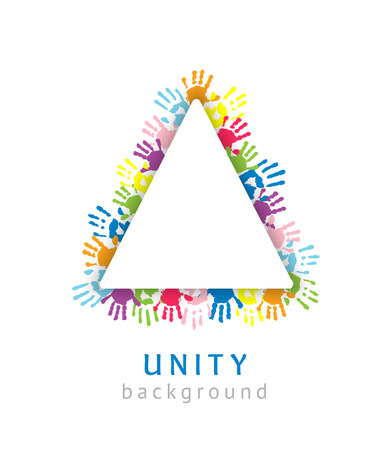 Triangle made of the handprints. Symbol of unity or team. 