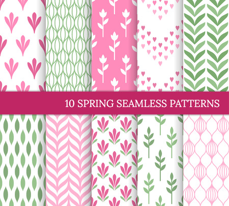 Ten spring seamless patterns. Romantic pink and green backgrounds for wedding or Mother's day. Endless delicate texture for wallpaper, web page, wrapping paper. Retro style. Flower, heart, leaf, curve Standard-Bild - 125811299
