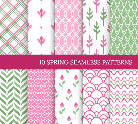 Ten spring seamless patterns. Romantic pink and green backgrounds for wedding or Mother's day. Endless delicate texture for wallpaper, web page, wrapping paper. Retro style. Flower, leaf, tile, curve