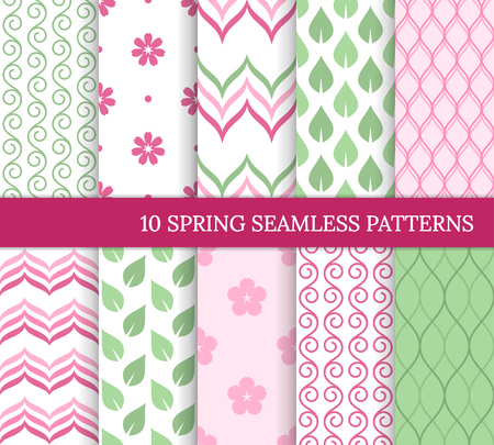 Ten spring seamless patterns. Romantic pink and green backgrounds for wedding or Mother's day. Endless delicate texture for wallpaper, web page, wrapping paper. Retro style. Flower, leaf, curve, swirl