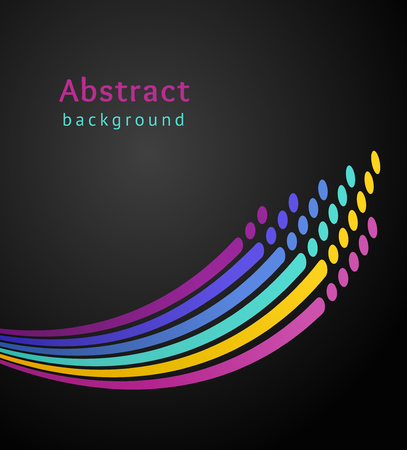 Bright colored stripes with circles over black background. Retro vector backdrop. Design template. Abstract lines directed upwards.