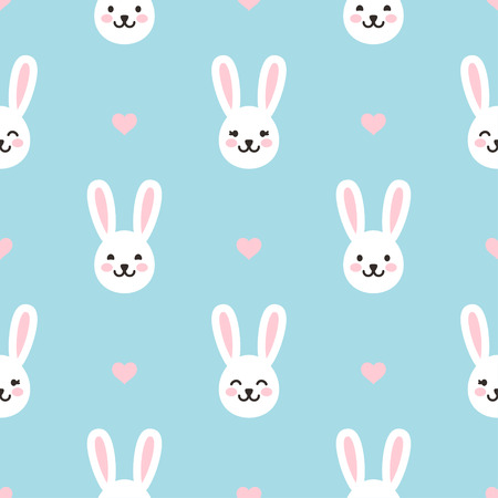 Seamless Easter pattern with little rabbits and hearts. Cute bunnies with different smiles. Festive endless vector background