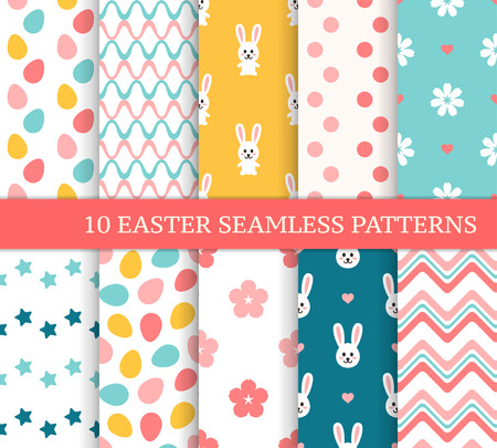 Ten different Easter seamless patterns. Endless texture for wallpaper, fill, web page background, texture. Colorful cute background with wave, zigzag, flower, Easter bunny and colored eggs Ilustração