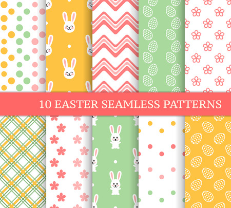 Ten different Easter seamless patterns. Endless texture for wallpaper, fill, web page background, texture. Colorful cute background with wave, dot, flower, Easter bunny and ornate eggs