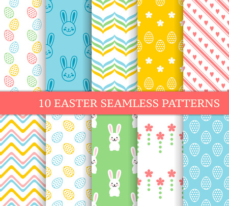 Ten different Easter seamless patterns. Endless texture for wallpaper, fill, web page background, texture. Colorful cute background with zigzags, flowers, Easter rabbits and eggs Ilustração