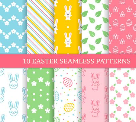 Diez patrones sin fisuras de Pascua diferentes. Textura sin fin para papel tapiz, relleno, fondo de página web, textura. Fondo lindo colorido con zigzags, flores, hojas, conejos de Pascua y huevos