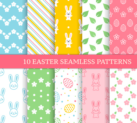 Ten different Easter seamless patterns. Endless texture for wallpaper, fill, web page background, texture. Colorful cute background with zigzags, flowers, leaves, Easter rabbits and eggs Ilustração