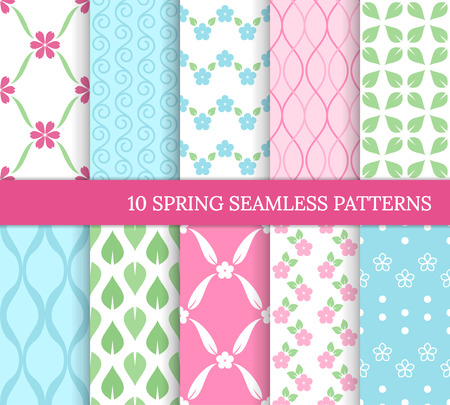 Ten spring seamless patterns. Romantic    backgrounds for wedding, Mother's day. Endless delicate texture for wallpaper, web page, wrapping paper. Retro style. Flowers, leaves, zigzags, waves, swirls