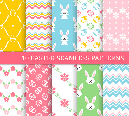 Ten different Easter seamless patterns. Endless texture for wallpaper, fill, web page background, texture. Colorful background with zigzags, waves, flowers, leaves, cute Easter rabbits and eggs