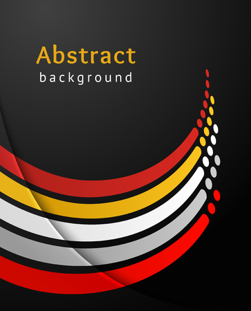 Curved colored stripes with circles over black background. Retro vector backdrop. Design template. Abstract lines turned upwards.  Illustration