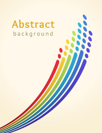 Colored stripes with circles over light background. Retro vector backdrop. Design template. Bright lines directed upwards. Abstract illustration Ilustração
