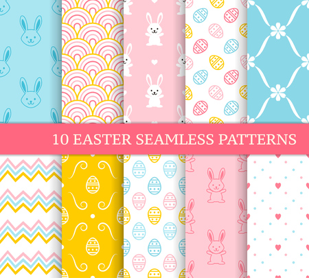 Ten different Easter seamless patterns. Endless texture for wallpaper, fill, web page background, texture. Colorful background with zigzags, flowers, tiles, cute Easter rabbits and eggs