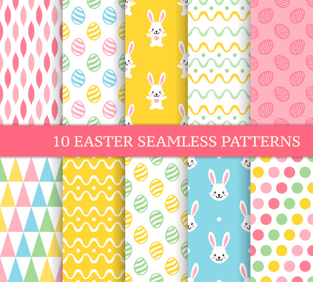Ten different Easter seamless patterns. Endless texture for wallpaper, fill, web page background, texture. Colorful cute background with waves, stripes, Easter rabbits and eggs Ilustração