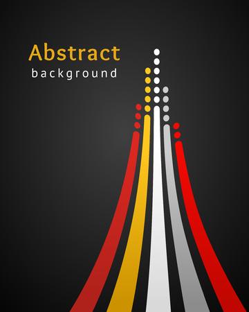 Rayas de colores con círculos sobre fondo negro. Telón de fondo de vector retro. Plantilla de diseño. Líneas brillantes dirigidas hacia arriba. Ilustración abstracta. Concepto de liderazgo, competencia, éxito, etc.