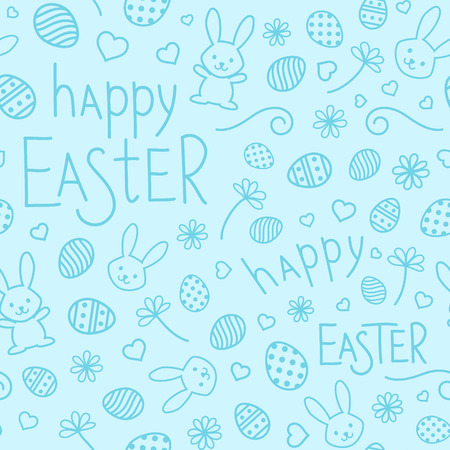 Easter festive seamless pattern. Blue endless background with bunnies, hearts, ornate eggs, flowers and hand drawn text Happy Easter