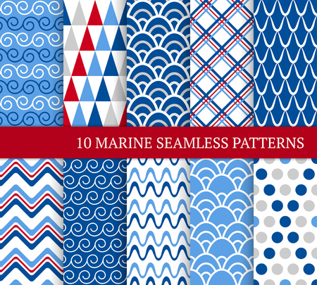 Ten marine different seamless patterns. Vector illustration for nautical design. Endless texture can be used for fills, web page background, surface. Set of sea  backdrop with waves, tiles and dots. Standard-Bild - 119250325