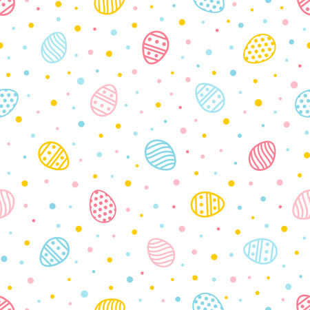 Easter seamless pattern. Colorful background with ornate eggs and dots. Endless texture for wallpaper, web page, wrapping paper and etc. Retro style. Standard-Bild - 119250326