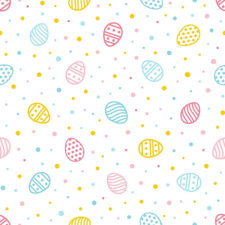 Ostern nahtloses Muster. Bunter Hintergrund mit verzierten Eiern und Punkten. Endlose Textur für Tapeten, Webseiten, Geschenkpapier usw. Retro-Stil.