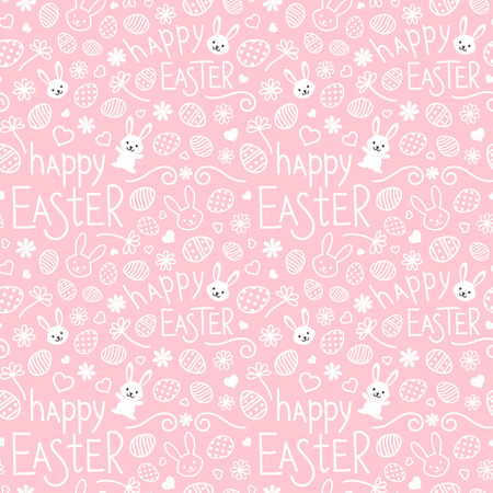 Easter festive seamless pattern. Pink endless background with bunnies, hearts, ornate eggs, flowers and hand drawn text Happy Easter Ilustração