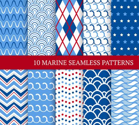 Dziesięć morskich różnych wzorów bez szwu. Ilustracja wektorowa do projektowania morskiego. Niekończąca się tekstura może być używana do wypełnień, tła strony internetowej. Zestaw tła morza z zygzakami, falami, płytkami i kropkami.