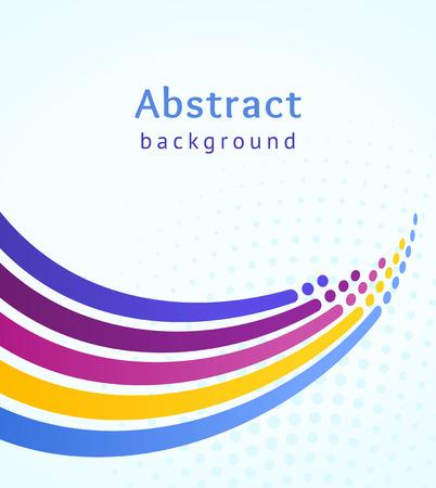 Farbige Streifen mit Kreisen auf blauem Hintergrund. Retro-Vektor-Hintergrund. Designvorlage. Stilisierte Meereswelle und Spritzer. Abstrakte Linien nach oben gerichtet. Trendiges Farbschema