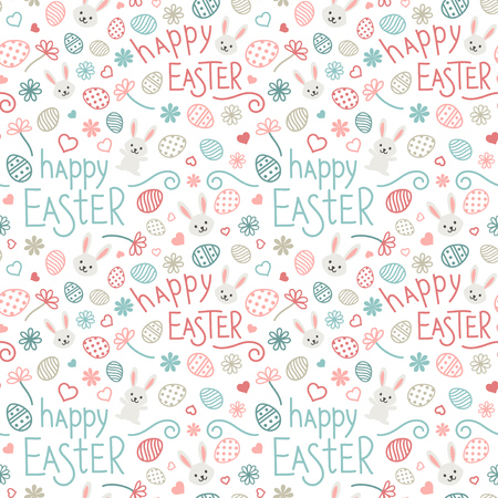 Easter festive seamless pattern. Colorful endless background with rabbits, hearts, ornate eggs, flowers and hand drawn text Happy Easter