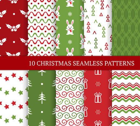 Ten Christmas different seamless patterns. Xmas endless texture for wallpaper, web page background, wrapping paper and etc. Retro style. Waves, bunnies, curls, stars, holly and Christmas trees Standard-Bild - 123281639