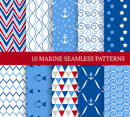 Ten marine different seamless patterns. Vector illustration for nautical design. Endless texture can be used for fills, web page background, surface. Set of sea  backdrop with wave, anchors and fishes Standard-Bild - 122364953