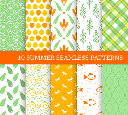 Ten summer seamless patterns. Pretty orange and green backgrounds. Endless delicate texture for wallpaper, web page, wrapping paper. Retro style. Flowers, sprigs, leaves, curves, dragonflies, fishes