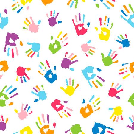 Sfondo senza soluzione di continuità realizzato con impronte di mani colorate. Palme e dita colorate nei colori dell'arcobaleno. Motivo multicolore per il tuo design. Vettoriali