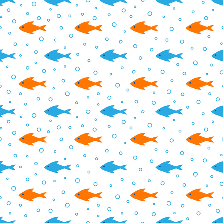 Marine seamless pattern. Vector illustration for nautical design. Endless retro background. Sea  backdrop with orange and blue fishes and bubbles 免版税图像 - 122364955