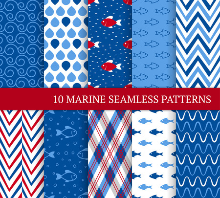 Ten marine different seamless patterns. Vector illustration for nautical design. Endless retro background. Set of sea  backdrop with waves, zig zags and fishes 免版税图像 - 122364956